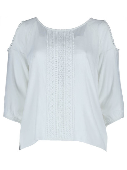 Lace Panel Long Sleeve Top Womens