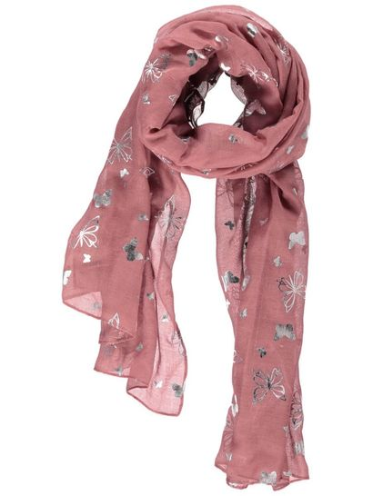 Womens Butterfly Foil Print Scarf