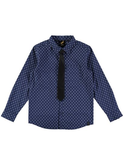 Boys Print Ls Shirt And Tie Set