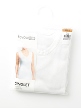 WIDE STRAP COTTON 1X1 RIB SINGLET WOMENS