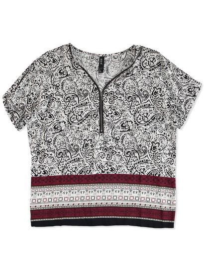 PAISLEY BORDER PRINT TOP WITH ZIP WOMENS
