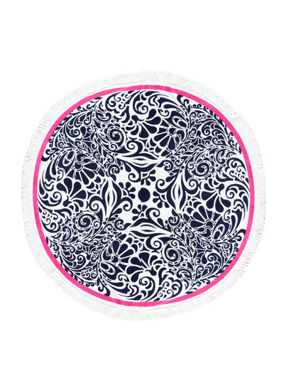 PRINTED ROUND BEACH TOWEL-FLORAL SWIRL