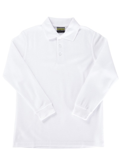 WHITE KIDS BASIC LONG SLEEVE POLO