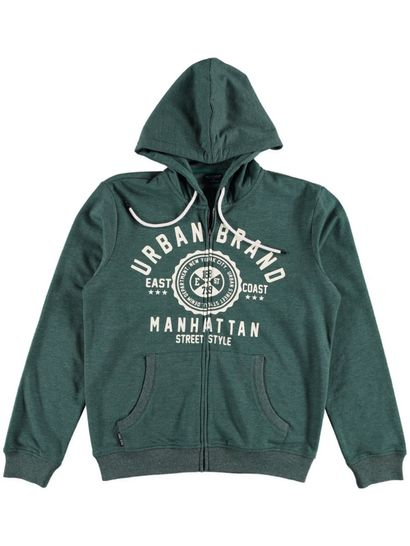 Mens Printed Zip Through Hoodie