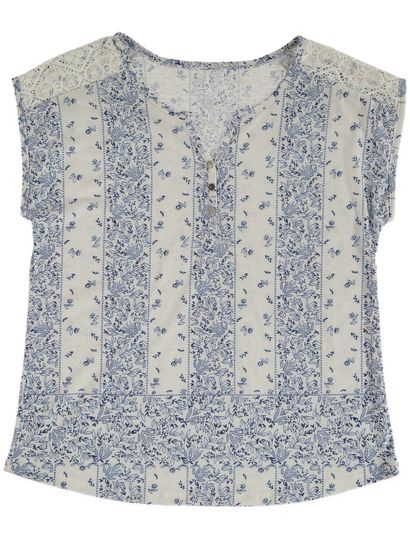 Lace Shoulder Print Tee Womens