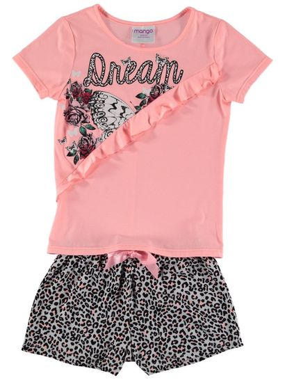 Girls Spliced Frill Knit Pyjama