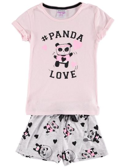 Girls Knit Panda Pyjama