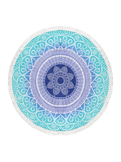 PRINTED ROUND BEACH TOWEL-TURQUOISE OMBRE