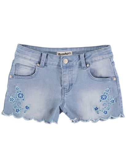 Girls Scallop Hem Denim Short