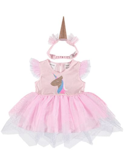 BABY UNICORN DRESS WITH HEADBAND