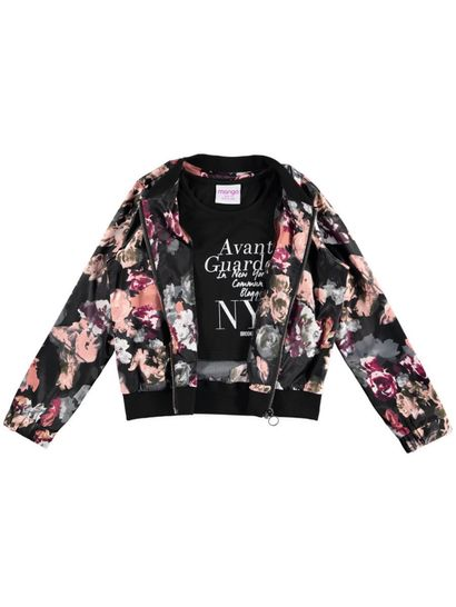 Girls 2 Piece Set Bomber Jacket And Cropped Top