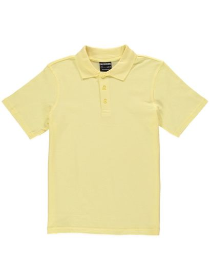 LIGHT YELLOW KIDS TEFLON PROTECTED COTTON POLO