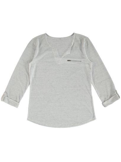 Plus Roll Sleeve Space Dye Top Womens