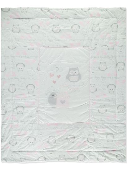 Baby Applique Embroidery Cot Quilt