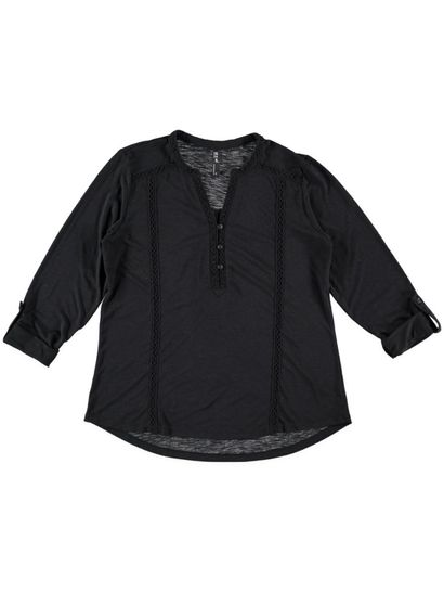Plus Lace Trim Henley Top Womens