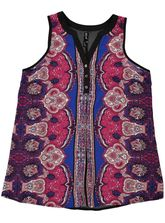 Plus Paisley Button Tunic Womens