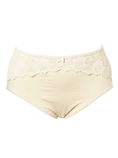 LACE PANEL COTTON SHAPING BRIEF WOMENS