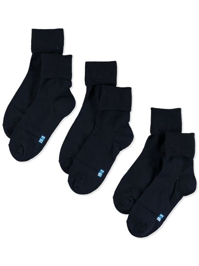 GIRLS UNDERWORKS COLOUR CODED 3PK TURNOVER SOCKS