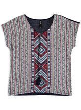 WP TRIBAL WOVEN FRONT TOP WOMENS PLUS
