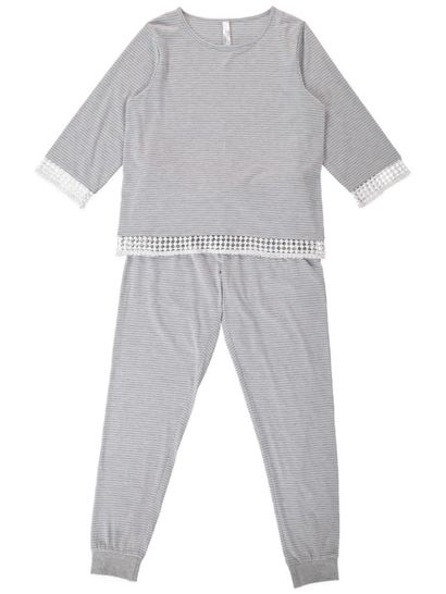 Knit Pj With Crochet Trim Womens Sleepwear