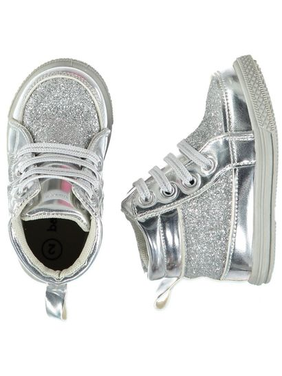 Baby Girl Hard Sole Glitter  High Top
