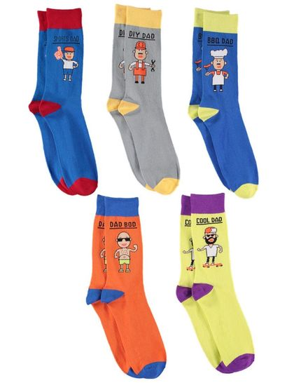 5Pk Novelty Dad Socks