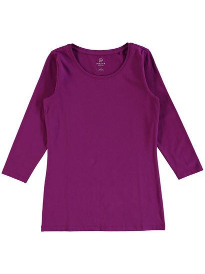 WOMENS PLUS ORGANIC COTTON BLEND 3/4 SLEEVE TEE