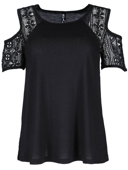 Lace Sleeve Cold Shoulder Tee Womens