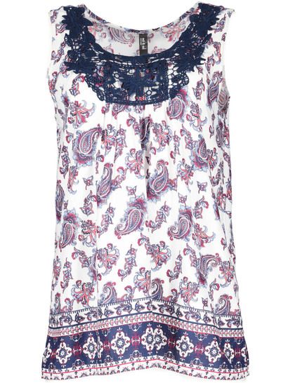 Lace Neck Print Tank Womens