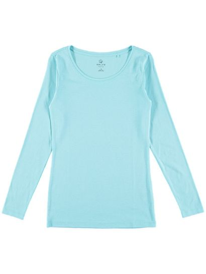 Plus Organic Cotton Rib Long Sleeve Top Womens