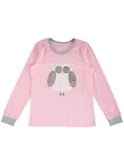 Knit Top With Fluffy Owl Applique