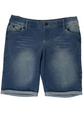 GIRLS PLAIN KNIT LONG DENIM PULLON SHORT
