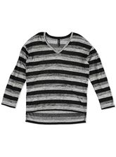 PLUS SPACE DYE STRIPE PULLOVER WOMENS