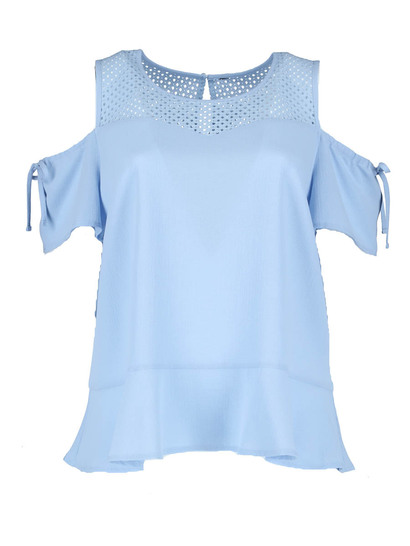 Plus Lace Yoke Cold Shoulder Top Womens