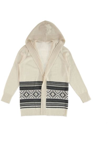 Plus Aztec Border Hooded Cardi Womens