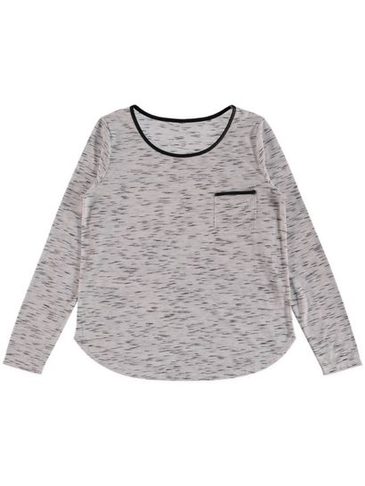Plus Pu Trim Long Sleeve Top Womens