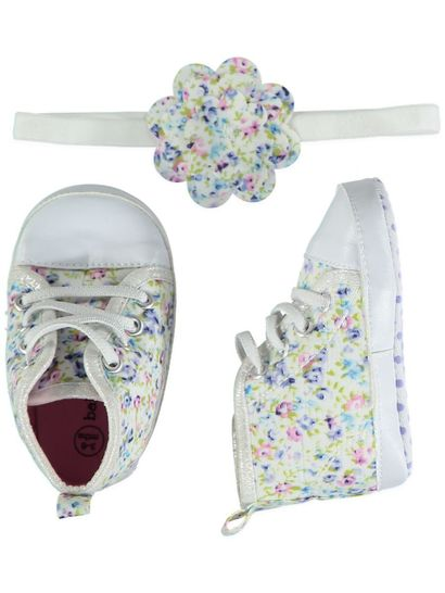 Baby Girl Soft Sole Flower High Top Set