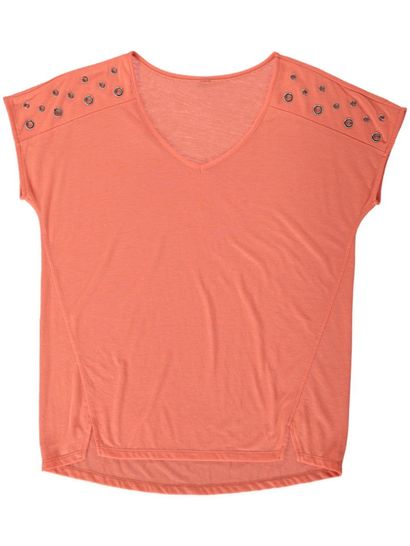 Plus Short Sleeve Tee With Eyelets Womens