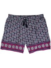 Side Tie Boarder-Print Shorts