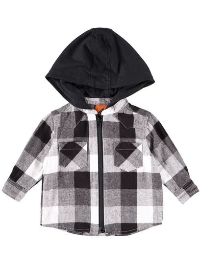 Boys Check Zip Shirt With Hood