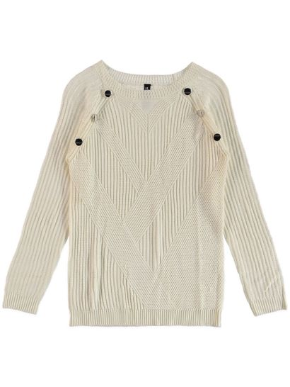 Button Jaquard Pullover Womens
