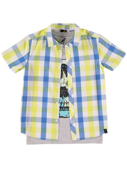Boys Print Shirt And Tee Set