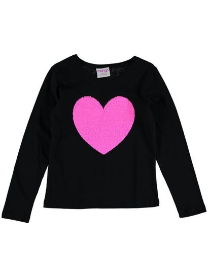 Girls Long Sleeve Sequin Tee