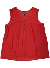 Plus Layer Top With Necklace Womens