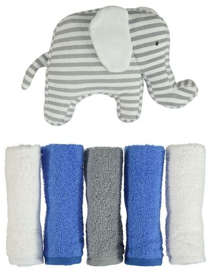 BABY 5PK FACEWASHERS & TOY SET