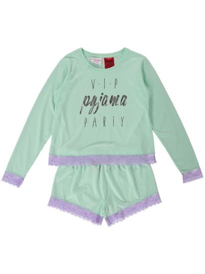 Girls Jersey Pyjama With Lace Trim