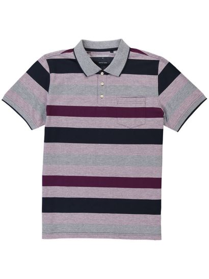 Mens Textured Stripe Polo