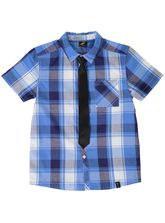BOYS CHECK SS SHIRT AND TIE SET