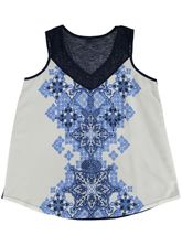 Woven Front Lace Trim Tank Womens