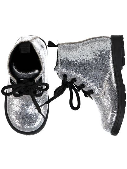 Toddler Girl Lace-Up Glitter Boot